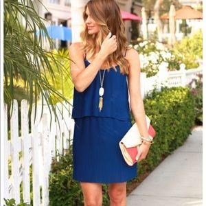PARKER Pleated Cobalt Blue Mini Dress Small